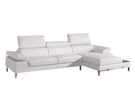 Rivello sectional in white leather available at Modern Home 2 Go