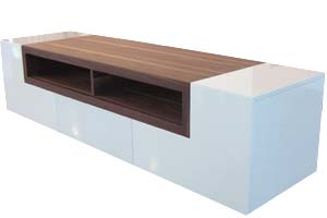 Sabri Modern Tv Unit in White Lacquer and Walnut Finish