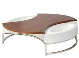 sorbello modern coffee table in white and walnut