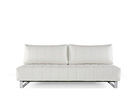 Supremax white leatherette sofa bed that converts into a bed. Sofa bed at Modern home 2 Go