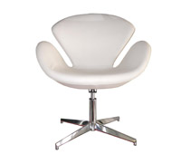 Swan lounge chair in white leather available at MH2G