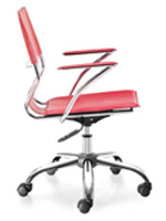 Traffico Modern Office chair in red leatherette