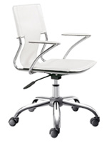 Traffico Modern Office chair in white leatherette
