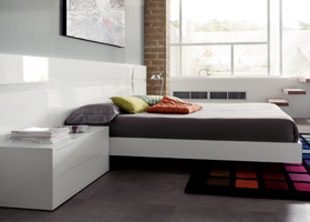 Trez modern bed white walnut