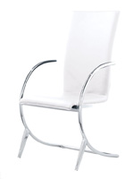 Valencia Modern white leatherette dining chair with chrome arms and legs