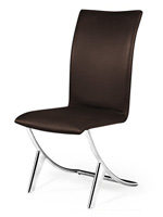 Valencia Modern dining chair in espresso leatherette with chrome legs. Modern dining chair