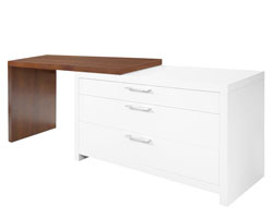 Vercelli Modern Office Desk White Lacquer and Walnut Veneer Finish