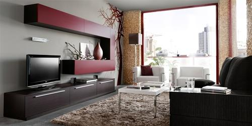 Red Laquer Modern Wall Unit 10 at Modern Home 2 Go