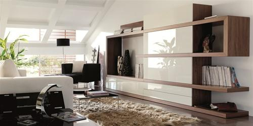 Modern Wall Unit A white Lacquer and Walnut