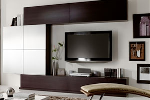 Modern wall unit 16 white lacquer and Wengue