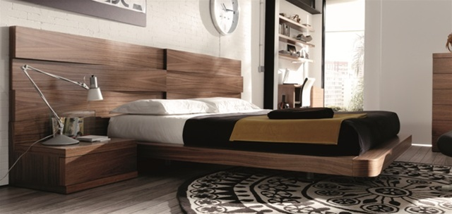 Mh2g beds loop in walnut - Ultra contemporary bedroom furniture ...