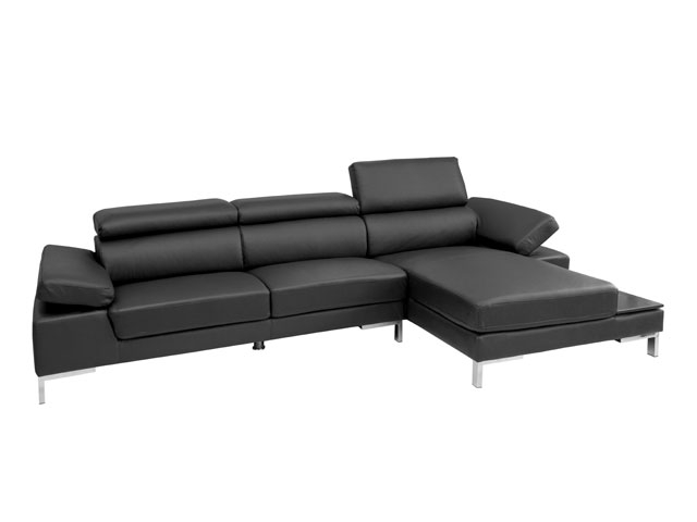 Rivello sectional in Black leather available at Modern Home 2 Go