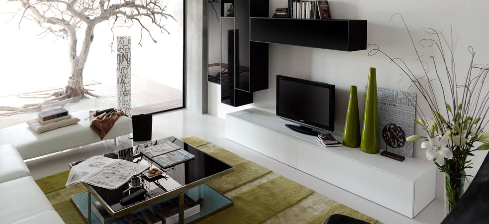 Modern Home 2 go. Wall Unit nine.ultra-modern wall unit has a sleek, contemporary look with in high gloss white and black lacquer finish with black glass doors.