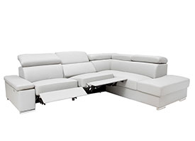 Elysee Modern Double recliner Sectional in Grey Leather