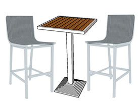 Anacapri Modern Outdoor Patio Set in White Aluminum finsih and Faux wood