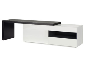 Arzano tv unit in wengue and white lacwuer
