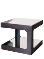 Contemporary Atessa Side table with clear glass bottom