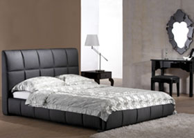 Basil Bed in black leatherette
