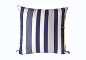 Modern Outdoor Patio Pillow in Blue and White Stripes