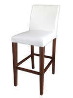 Canini Modern Bar Stool White Leatherette and Walnut Legs