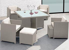 carini modern outdoor patio dining set grey