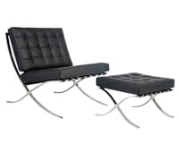 Catalunya chair and ottoman in black leather at an affordable price. Modern Lounge chair