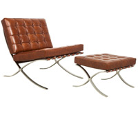 Catalunya modern lounge chair and ottoman in cognac leather