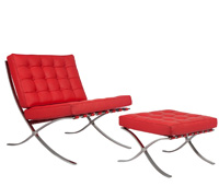 Catalunya modern lounge chair and ottoman in red leather