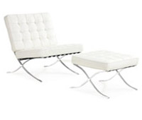 Catalunya chair and ottoman in white leather at an affordable price. Modern Lounge chair