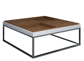 Cavoti coffee table in walnut and white lacquer