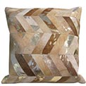 Chevron Modern Cowhide Pillow Large in Sand and Gold