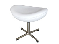 Modern Egg ottoman in white leatherette - Modern Furniture