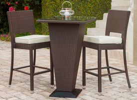 Figari outdoor bar set in espresso seat two. Modern outdoor bar set