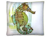 Green Seahorse Modern Outdoor Patio Pillow