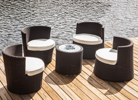 Lentini outdoor dining set in espresso. Seats 4