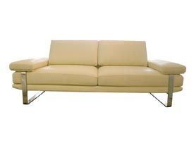 Lizzano sofa in beige leather modern sofa