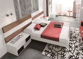 Loop modern bed set in walnut and white