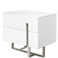 lugo modern nightstand White Two Drawers