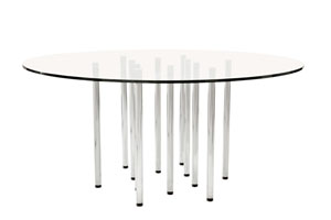 Merano round glass dining table