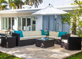 Mileto outdoor sectional. Modern outdoor lounging set
