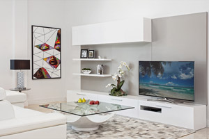Moderna Modern Wall Unit In Grey Lacquer Finish