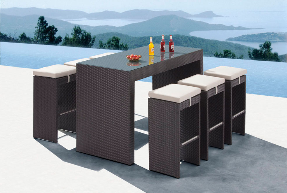 palma modern outdoor patio dining set espresso