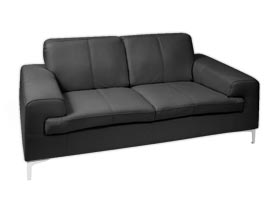 Contemporary Pomezia Black leather sofa