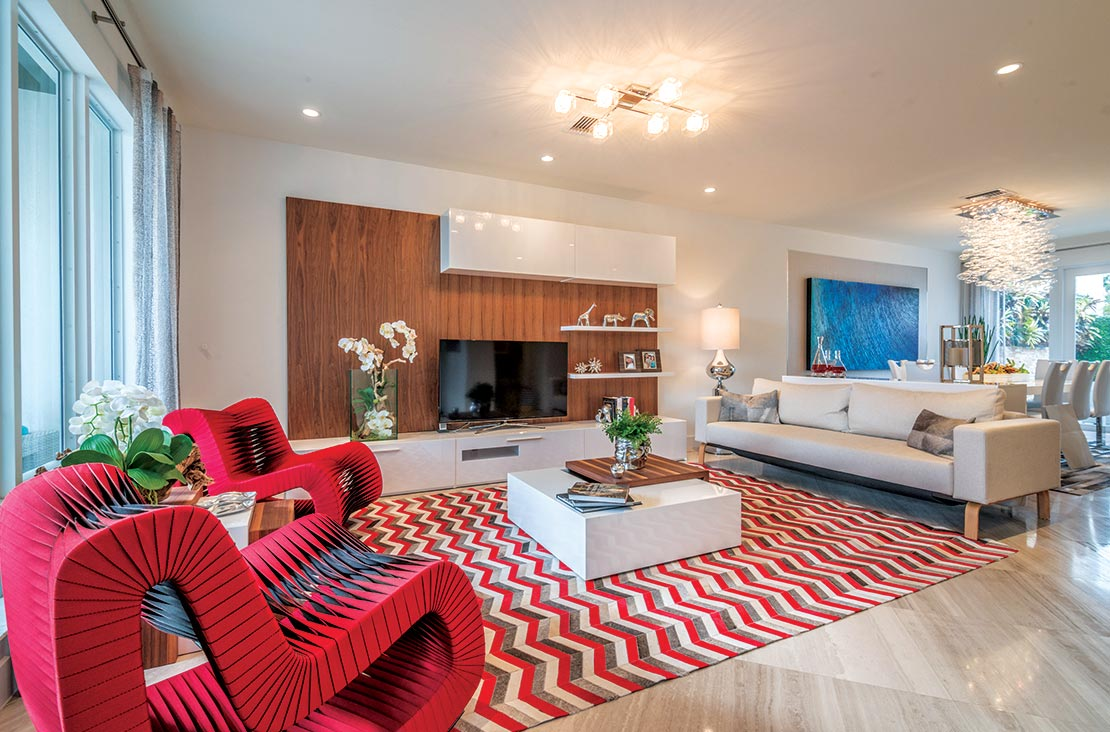Interior Design by MH2G Furniture - Modern Living Room at Landmark Modern Home A: 2 Story