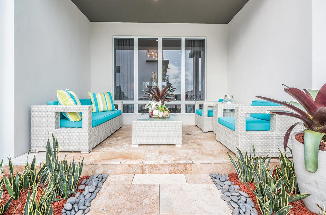 Interior Design by MH2G Furniture - Modern Outdoor Patio Lounging at Landmark Modern Home A: 2 Story