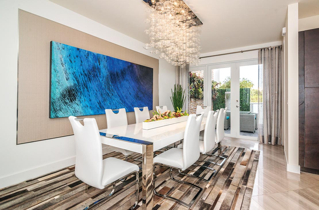 Interior Design by MH2G Furniture - Modern Dining Room and Lighting at Landmark Modern Home A: 2 Story