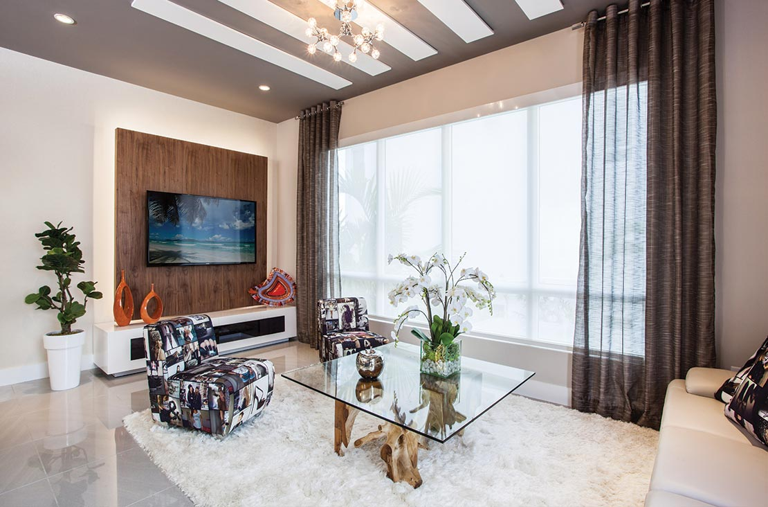 Interior Design by MH2G Furniture - Modern Livingroom  at Landmark Model Home: 3 Story July 2015
