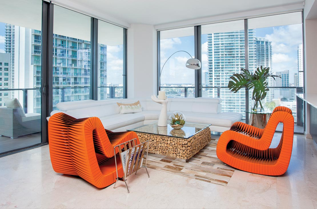 Interior Design by MH2G Furniture - Modern Living Room Area at Brickell City Centre