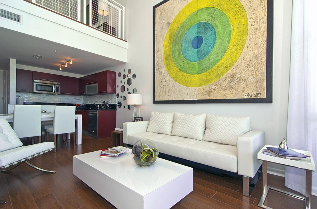 Interior Design by MH2G Furniture - Modern Living Area at Loft Apartment in Downtown Miami