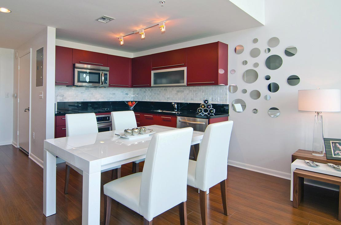 Interior Design by MH2G Furniture - Modern Dining at Loft Apartment in Downtown Miami